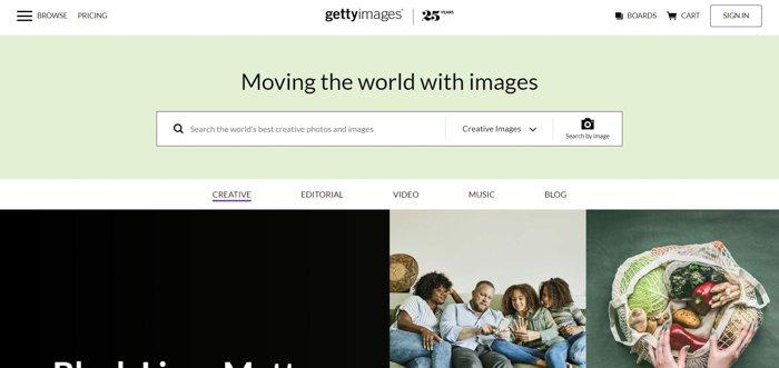Screenshot of Getty Images website homepage