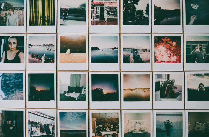 Rows of printed Instagram photos
