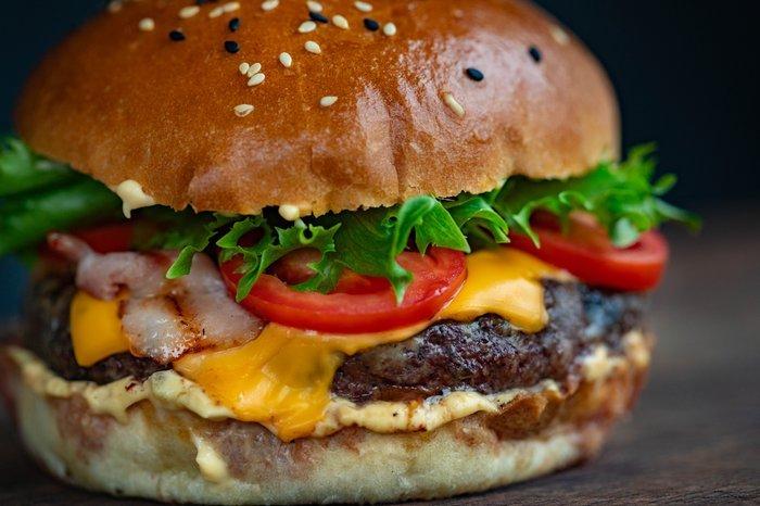 A close up of a hamburger
