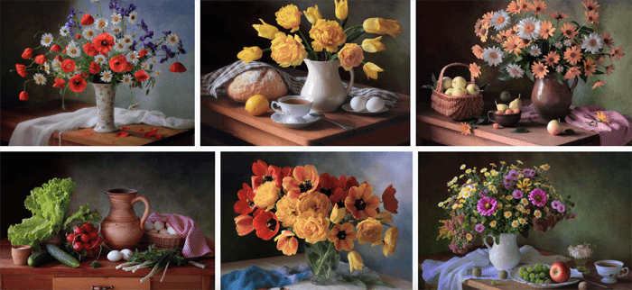 photos of bouquets of colorful flowers by Tatiana Skorokhod