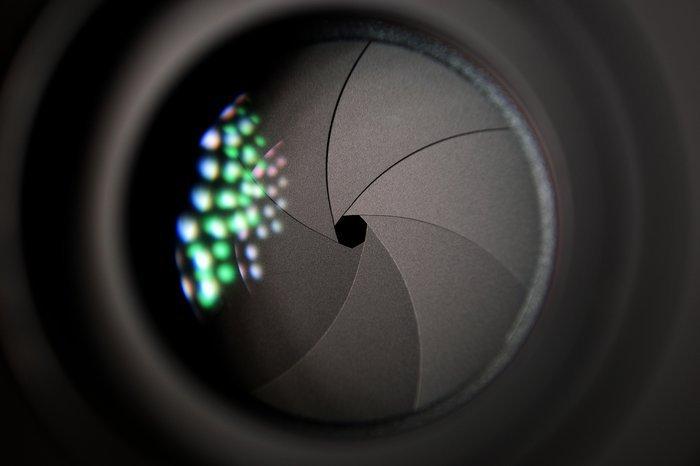 A close up of a camera shutter