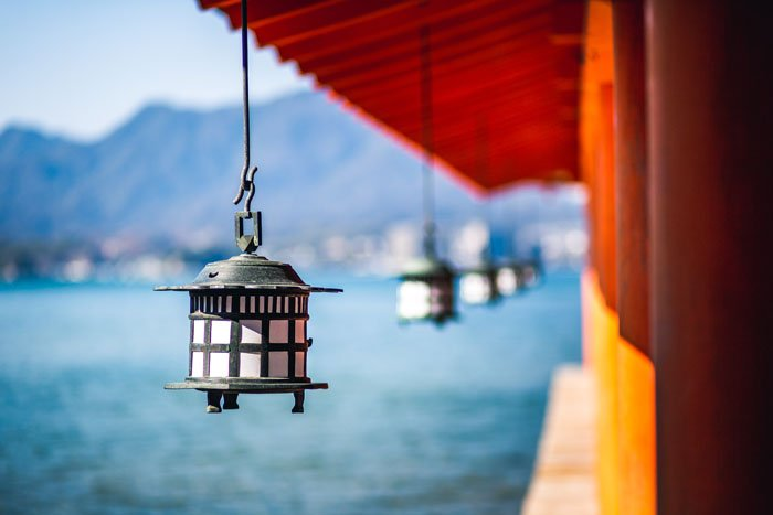 Lanterns on the site of a building by the ocean