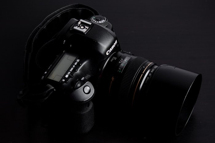 A Canon DSLR fitted with Canon EF 85mm f/1.8 USM lens