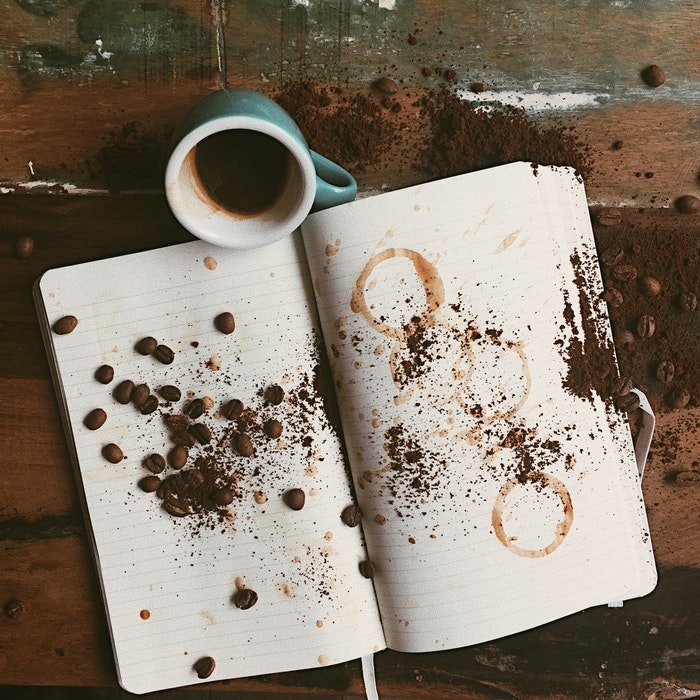 overhead photo of an open notebook with a small mug of coffee next to it