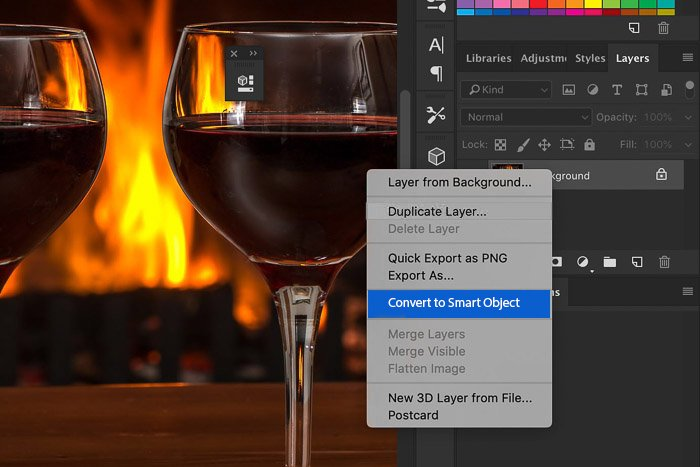 screenshot of converting to smart object in photoshop