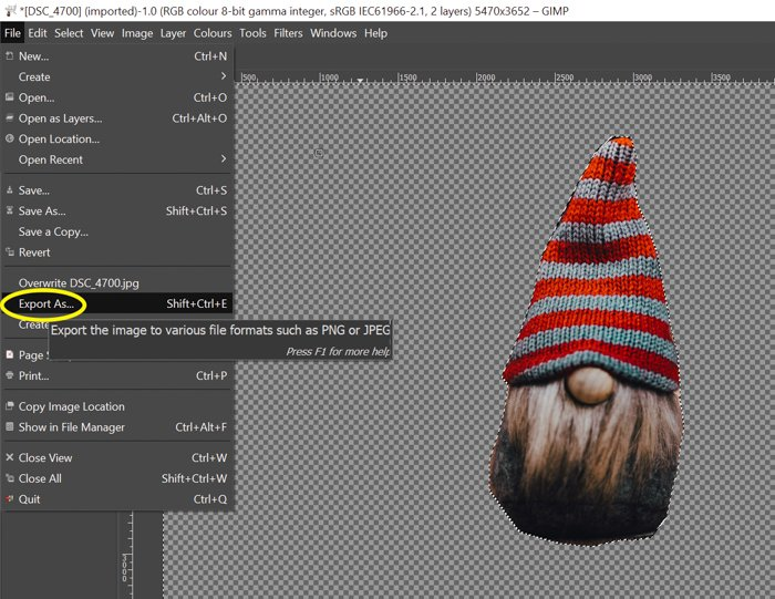 screenshot showing how to export photo in gimp