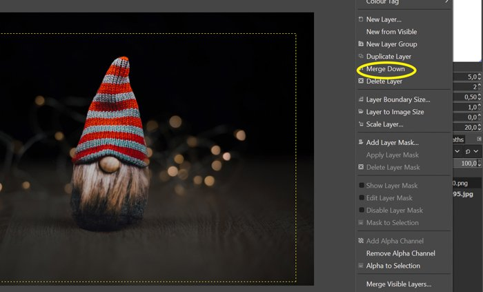 screenshot showing how to merge layers in gimp