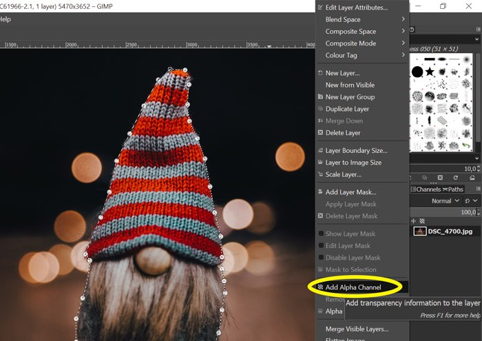 screenshot showing how to create alpha channel in GIMP