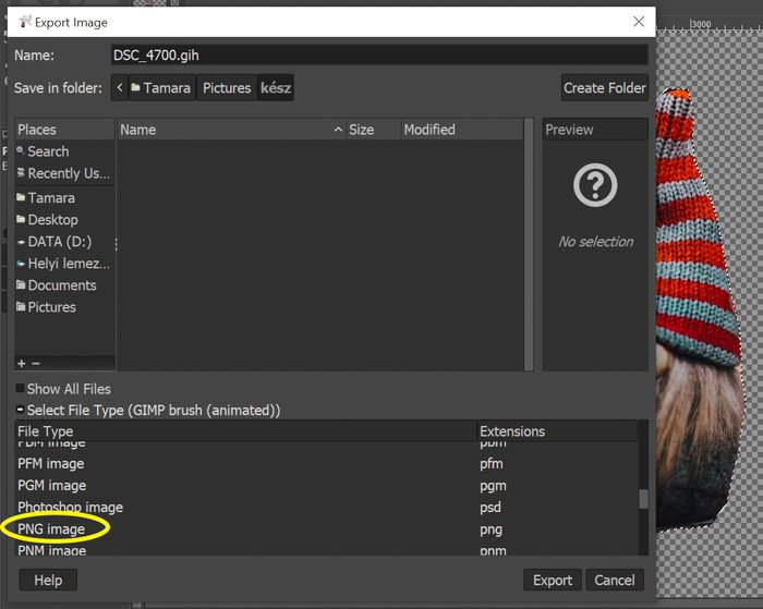 screenshot showing how to export photo to png in gimp