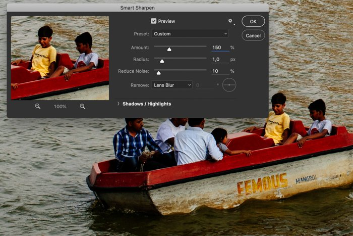 a screenshot showing how to smart sharpen in Photoshop