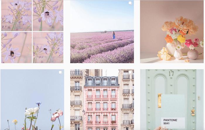 6 photo grid of dreamy pastel photos