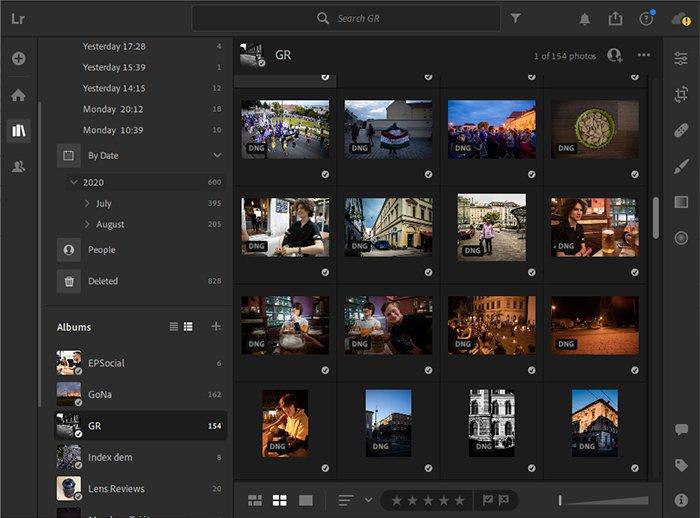 Screenshot of Adobe Lightroom cc interface