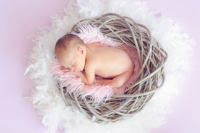 Overhead photo of a newborn in a basket
