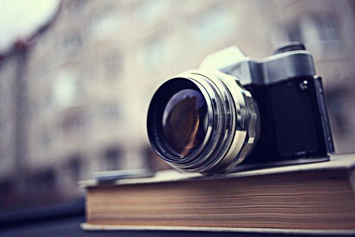 A camera on a book