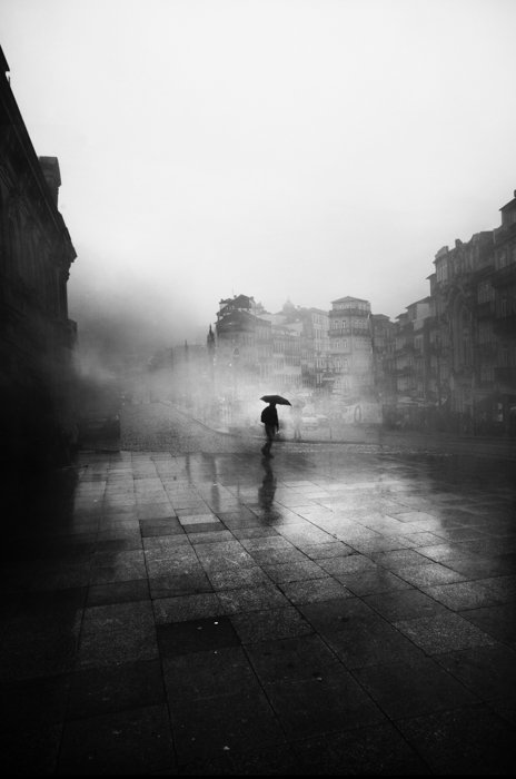 A street scene on a grey cloudy day