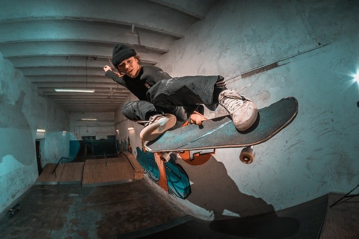 photo of a skateboarder shot with a fisheye lens