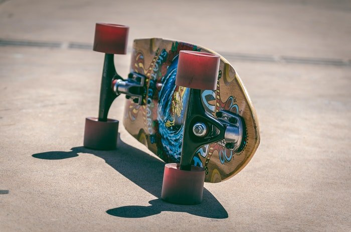 close-up photo of a colorful skateboard