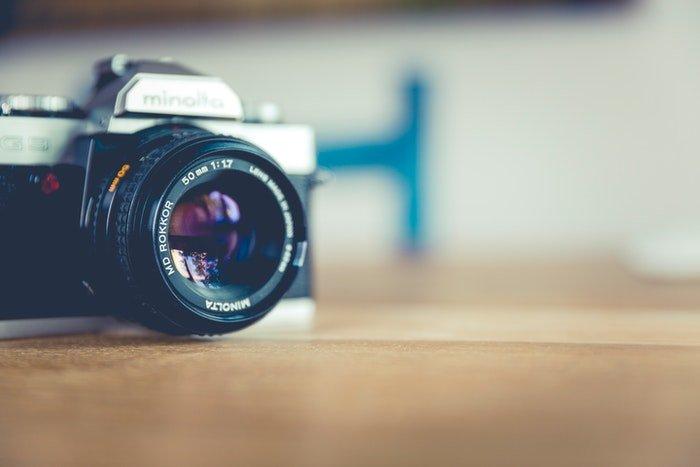 A Minolta camera on a desk