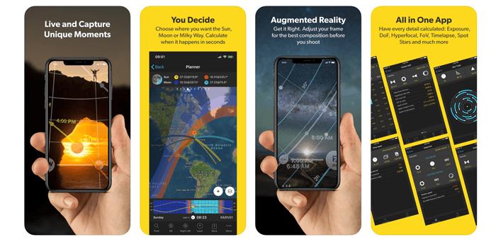 A screenshot of using smartphone photography app