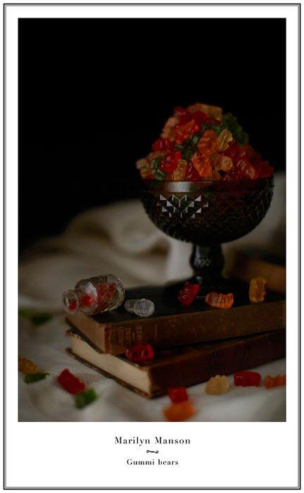 still life photo of a bowl of gummy bears