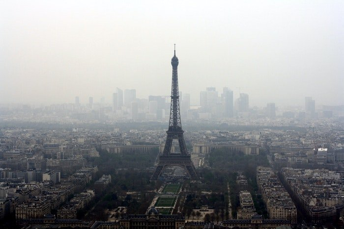 Aerial view of the Eiffel tower on a misty day