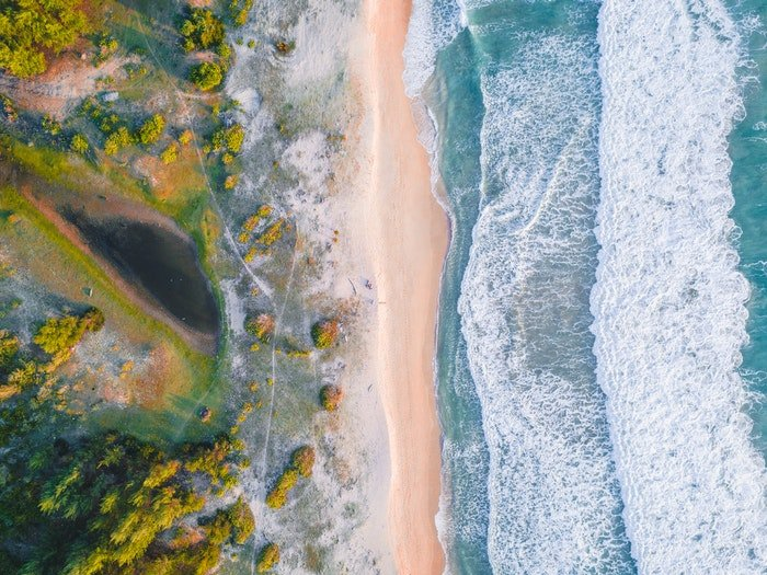 Beach landscape image shot from a birds eye view perspective