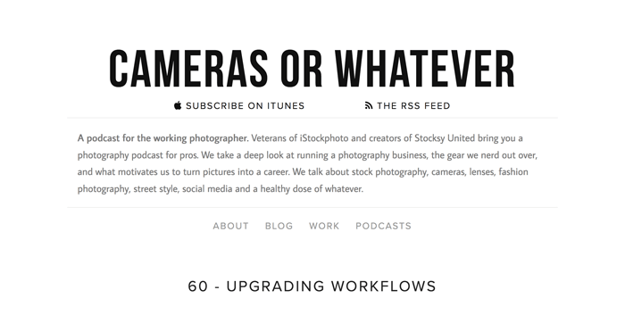 Screenshot of 'cameras or whatever' photography podcast playing in an app