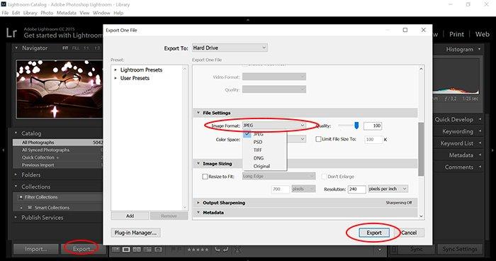 a screenshot of Adobe Lightroom exporting jpg to cr3 files