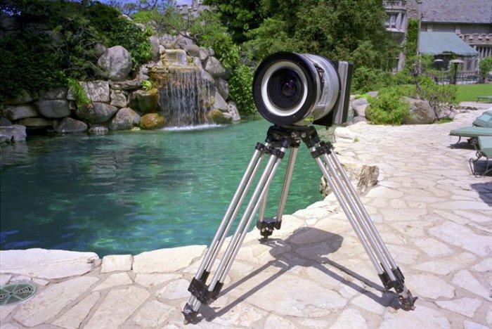 A pinhole camera on a tripod