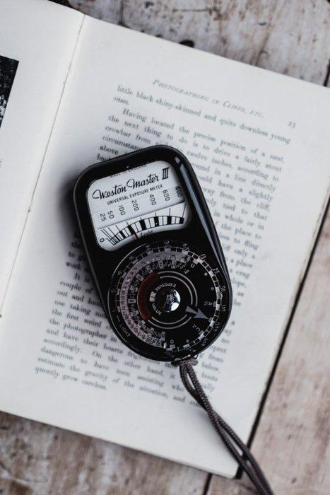 A light meter on a book