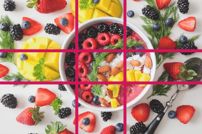 Fruity food photography composition with phi-grid overlayed