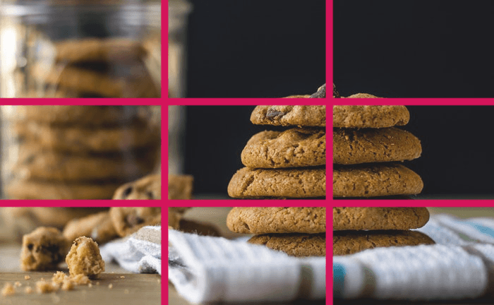 A stack of cookies with rule of thirds composition grid overlayed