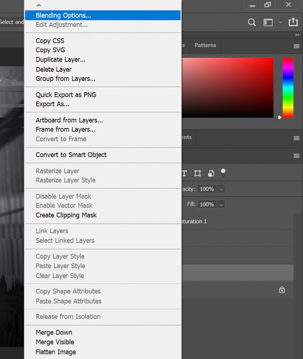 Screenshot of blending layers in Photoshop