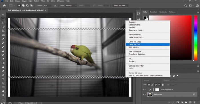 A screenshot of adding a glitch effect to a photo in Photoshop