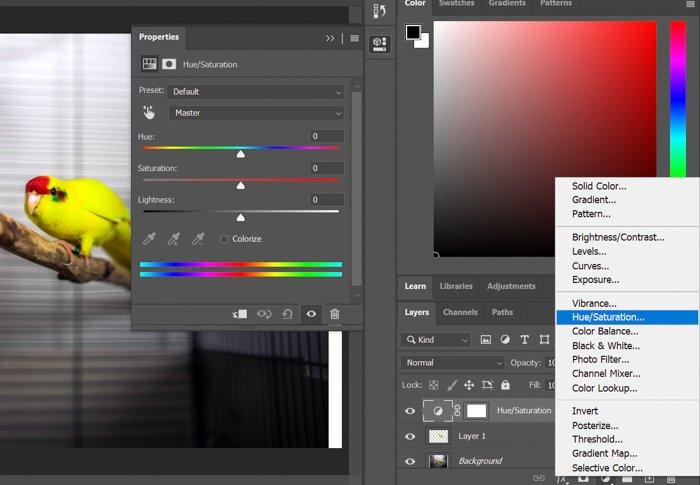 A screenshot of adjusting hue/saturation in photoshop