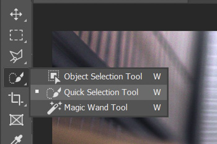 A screenshot of choosing the quick selection tool in Photoshop