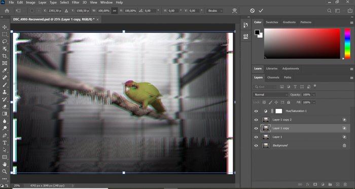 A screenshot of creating glitch effect Photoshop