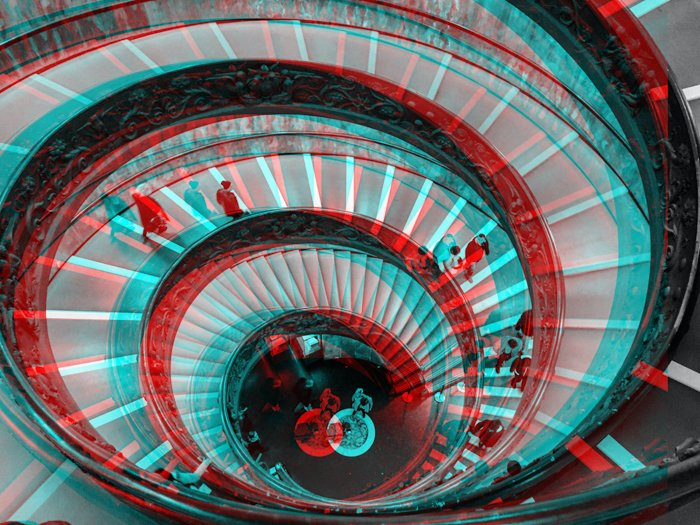 Glitch effect photo of a spiral staircase