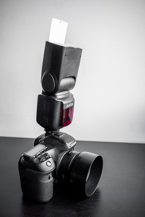 A DSLR fitted with V860II flash with the X1T radio trigger