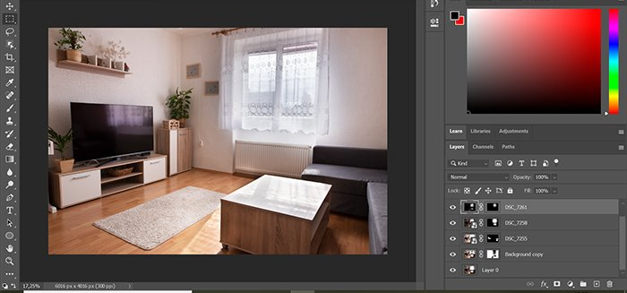 Screenshot of editing hdr real estate photography in Photoshop