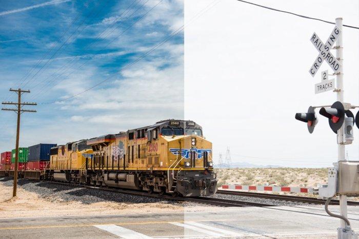 分屏的火车照片比较在jpeg和原始拍摄之间的差异