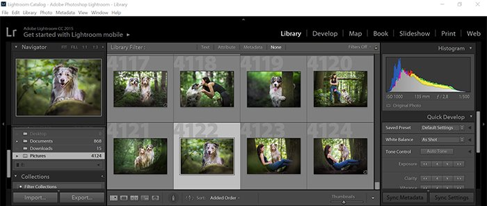 a screenshot of the organisation step of the lightroom workflow