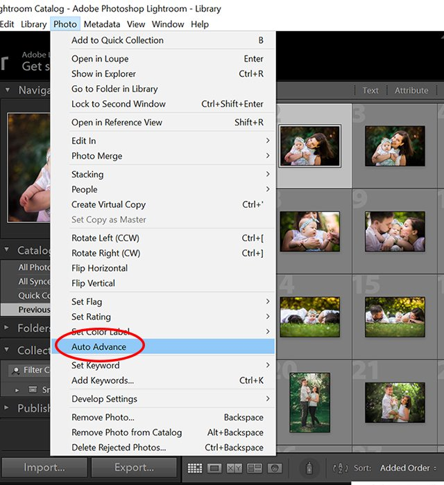 a screenshot showing the auto advance option in lightroom