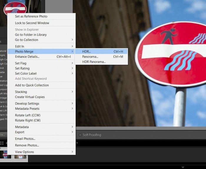A screenshot of using Lightroom HDR merge