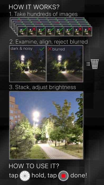 stabilized night camera application for iphone