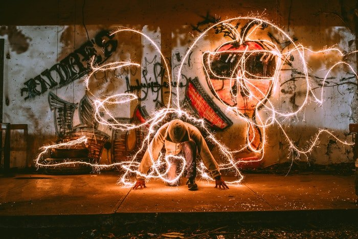 light painting effect with street art and a model shot with iPhone