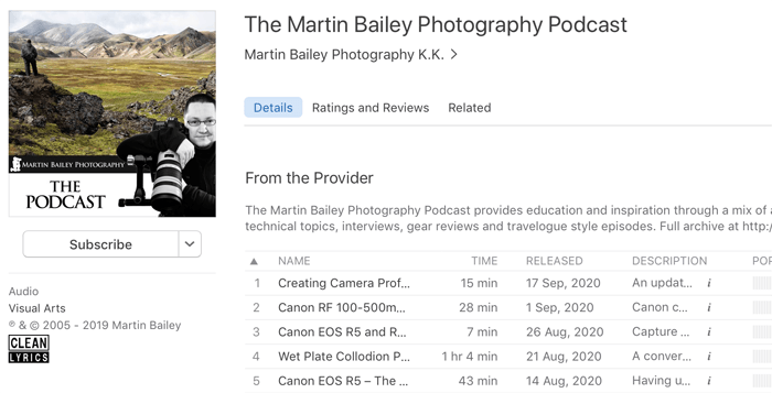 Screenshot of 'the martin bailey' photography podcast playing in an app