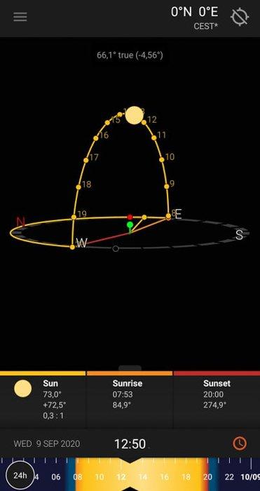 Screenshot of the Sun Surveyor application