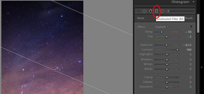 a screenshot showing the Lightroom Graduated Filter