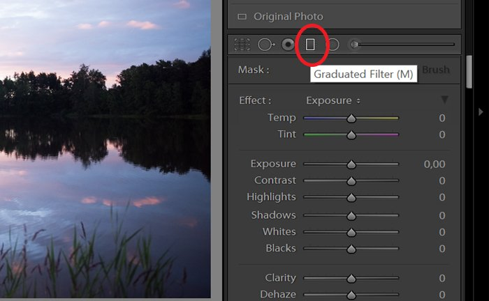 Screenshot of using the graduated filter in Lightroom